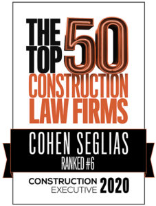 2020 Construction Executive Top 50 Construction Law Firms Cohen Seglias Badge