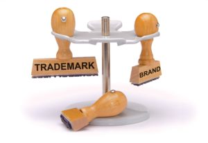 3d rendering of trademark and brand printed on rubber stamp