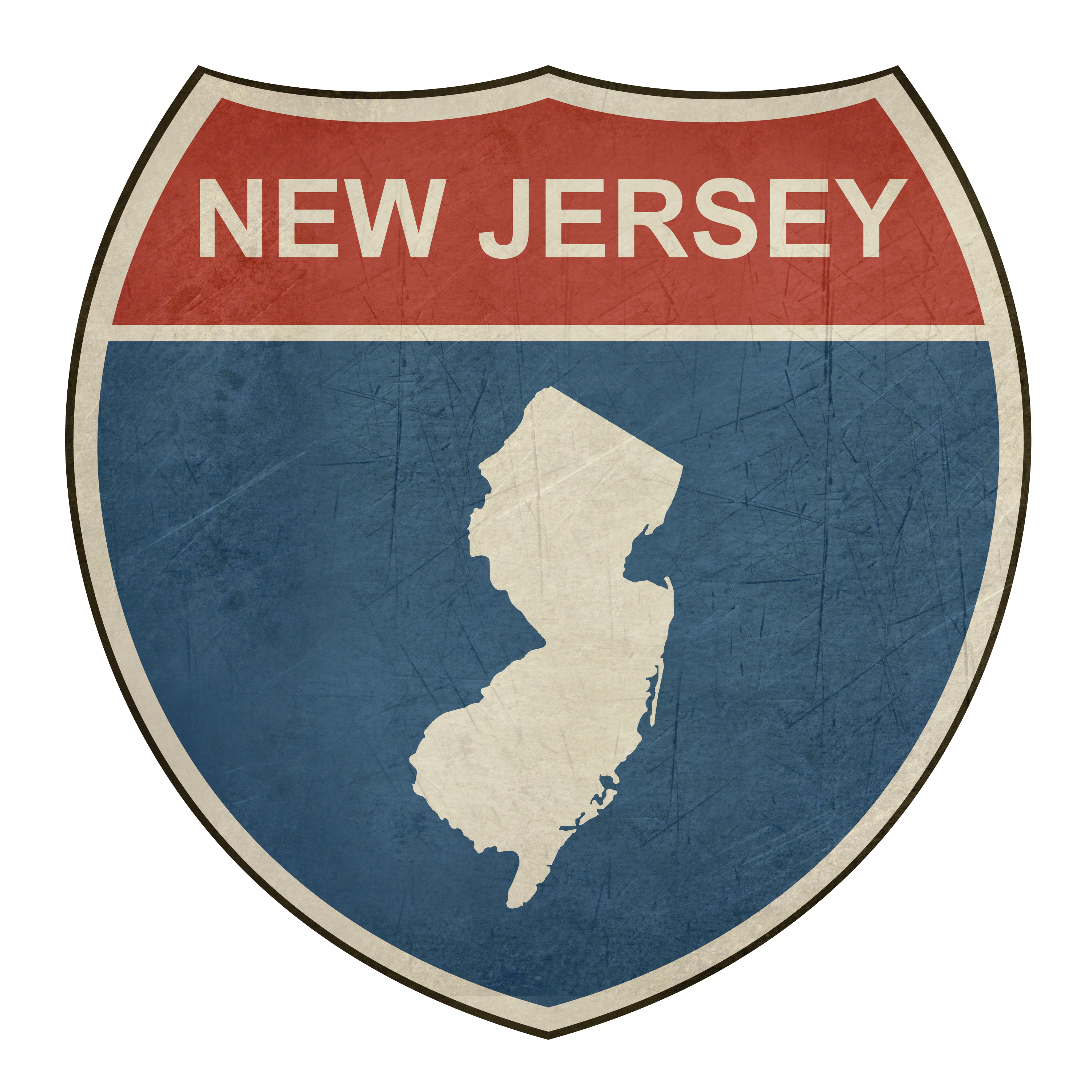 New Jersey Road sign with state outline